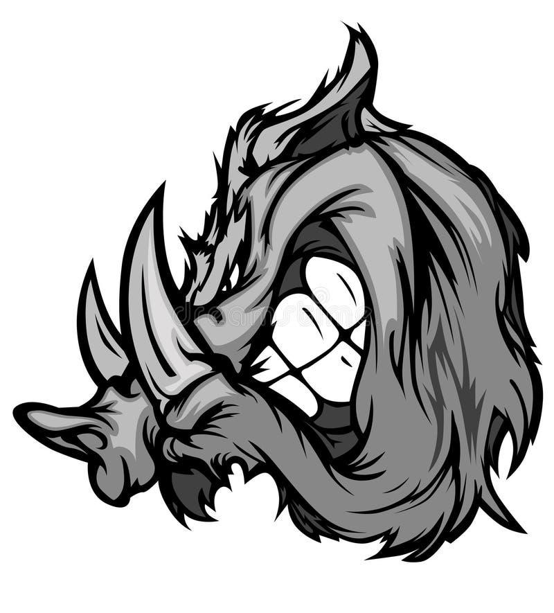 Logotipo do vetor da mascote de Razorback do varrão ilustração stock