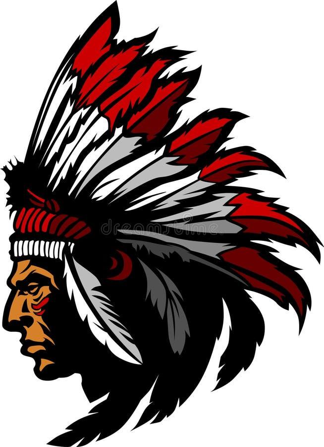 Logotipo do vetor da mascote do chefe indiano ilustração do vetor