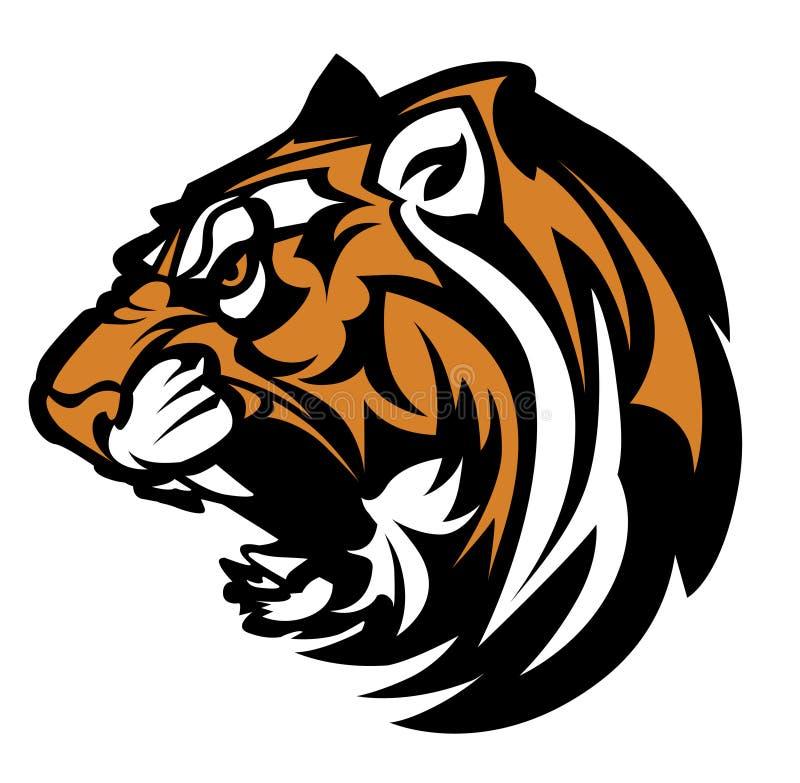 Logotipo do vetor da mascote do tigre ilustração stock