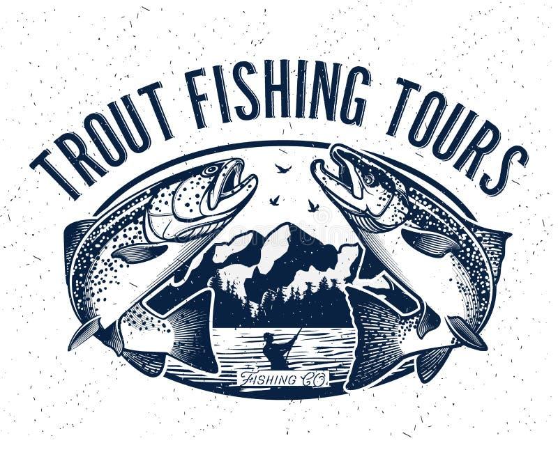 Logotipo do vetor da pesca Ícone de Salmon Fish ilustração stock