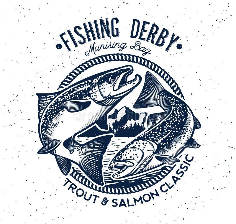 Logotipo do vetor da pesca Ícone de Salmon Fish ilustração royalty free