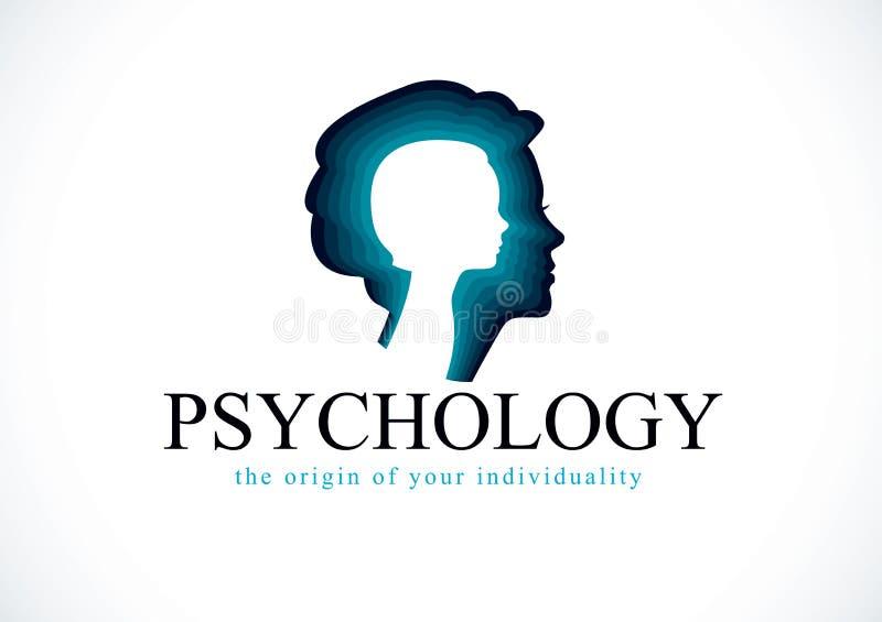 Logotipo do vetor da psicologia criado com o perfil e o littl da cabeça da mulher ilustração do vetor