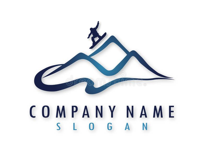 Logotipo do vetor da snowboarding ilustração stock
