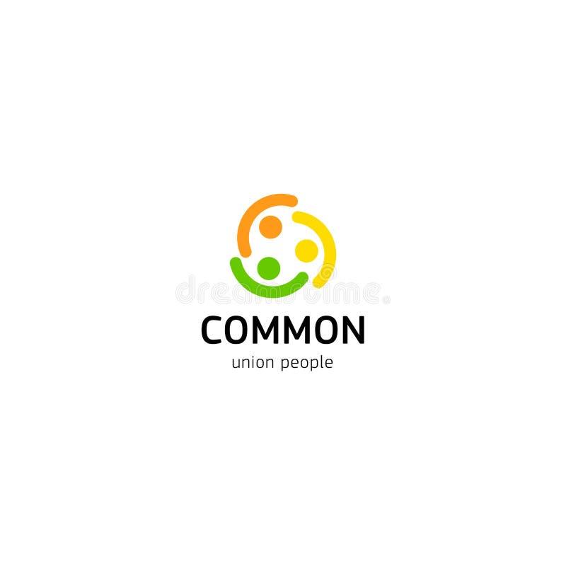 Logotipo do vetor da união dos povos Pessoas normais do molde isolado logotype Símbolo abstrato de seres humanos conectados ilustração stock