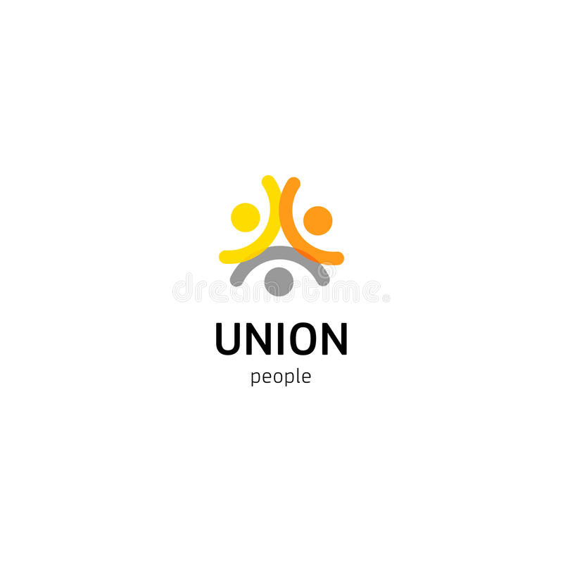 Logotipo do vetor da união dos povos Pessoas normais do molde isolado logotype Símbolo abstrato de seres humanos conectados ilustração royalty free