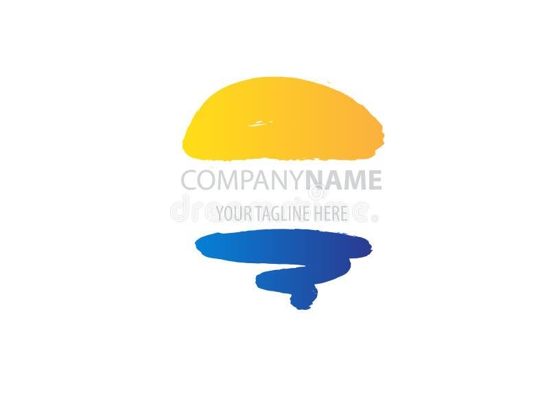 Logotipo do vetor de Abstarct com Sun e onda do mar Logotype do feriado, ícone, símbolo ilustração royalty free