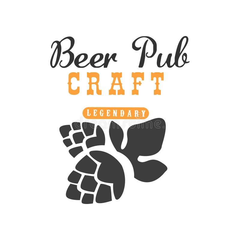 Logotipo do vetor de Minimalistic com o lúpulo para o bar, o café ou o restaurante Tema da cerveja do ofício Bebida alcoólica Pro ilustração do vetor
