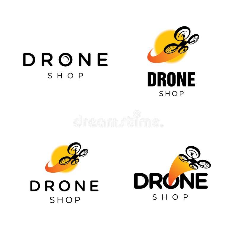 Logotipo do vetor de Quadcopter do zangão ilustração stock