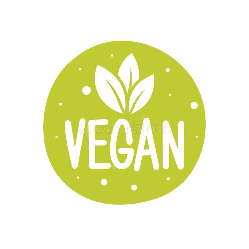 logotipo do vetor de 100 vegetarianos Logotipo redondo do verde do eco Sinal do alimento do vegetariano com folhas etiqueta para  ilustração royalty free