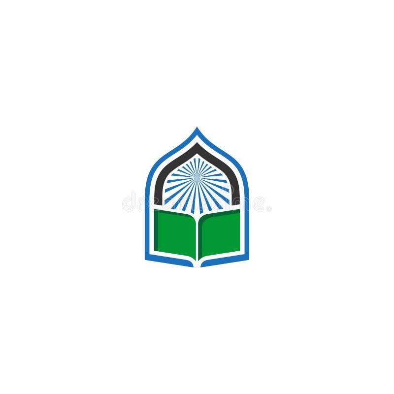Logotipo do vetor do ícone da mesquita do livro ilustração royalty free