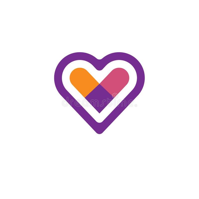 Logotipo do vetor do ícone do coração ilustração royalty free