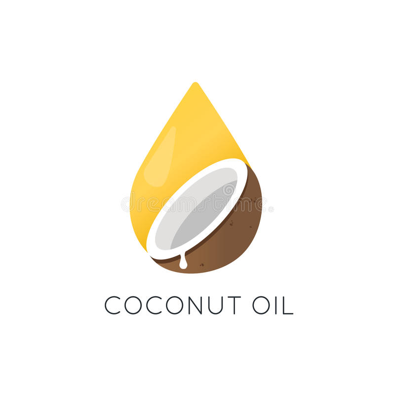Logotipo do vetor do óleo de coco Elemento e ícone do projeto de empacotamento ilustração stock