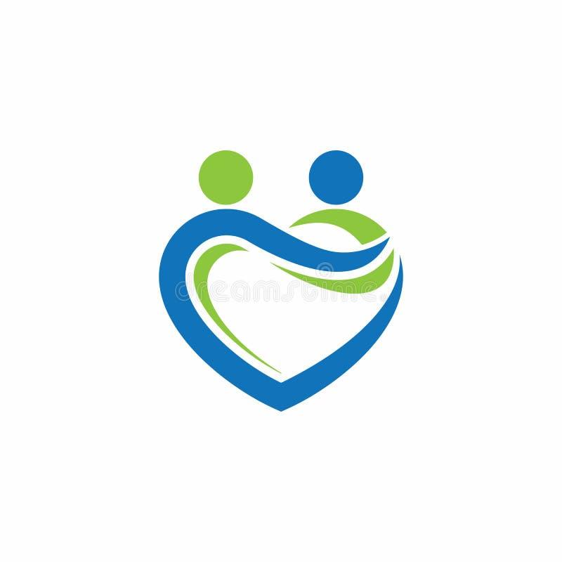 Logotipo do vetor do sócio do amor ilustração royalty free
