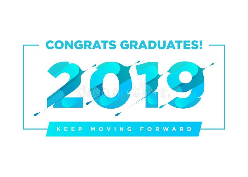 Logotipo do vetor dos graduados das felicitações Molde do fundo da graduação com citações inspiradas Cumprimentando a bandeira pa ilustração do vetor