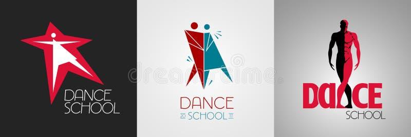 Logotipo do vetor do estúdio da dança, grupo de símbolo Ícones para anunciar ilustração royalty free