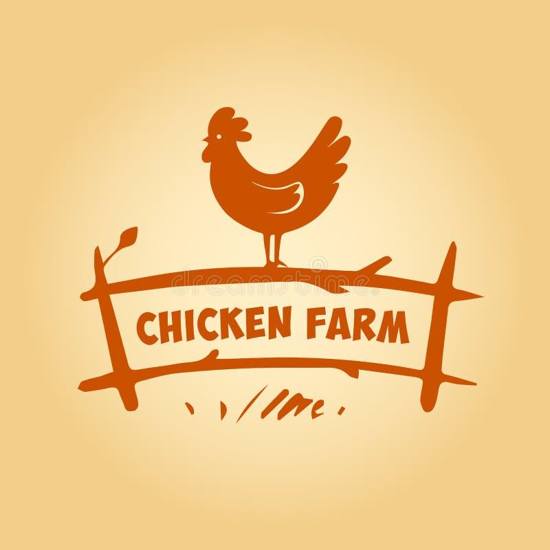 Logotipo do vetor, galinha na cerca Produtos de ilustração royalty free