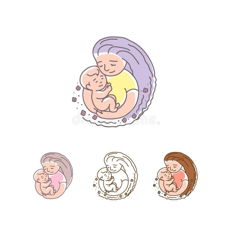 Logotipo do vetor - mãe com bebê Dia de matrizes feliz ilustração do vetor