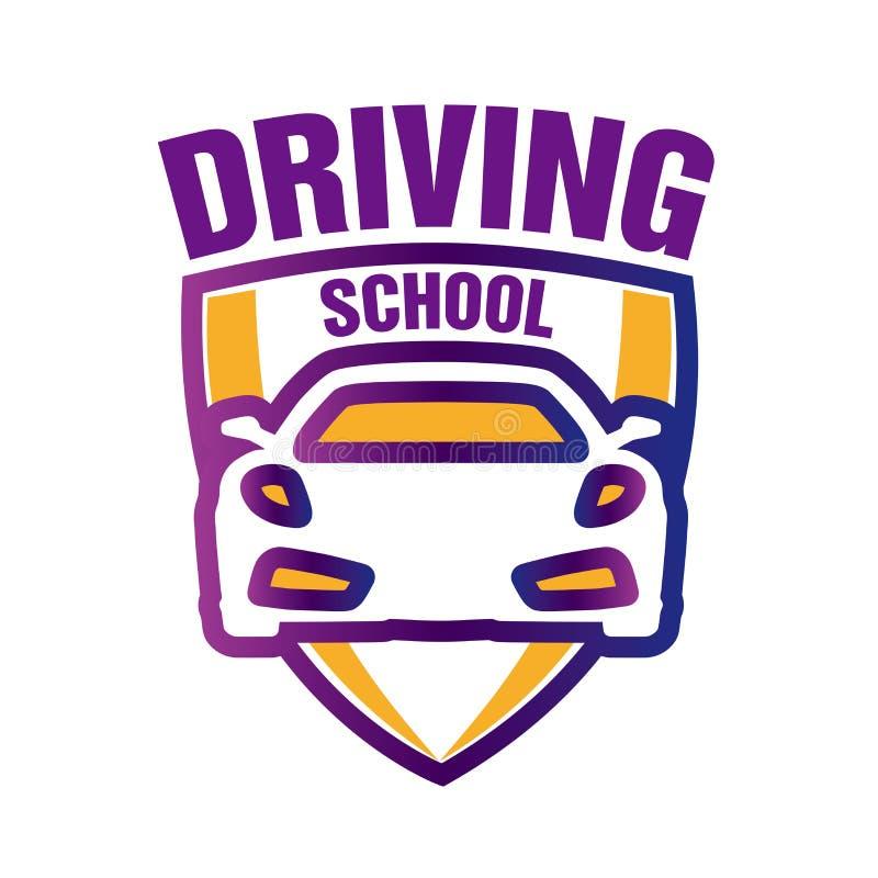 Logotipo do vetor no tema da escola de condução, carro imagens de stock royalty free