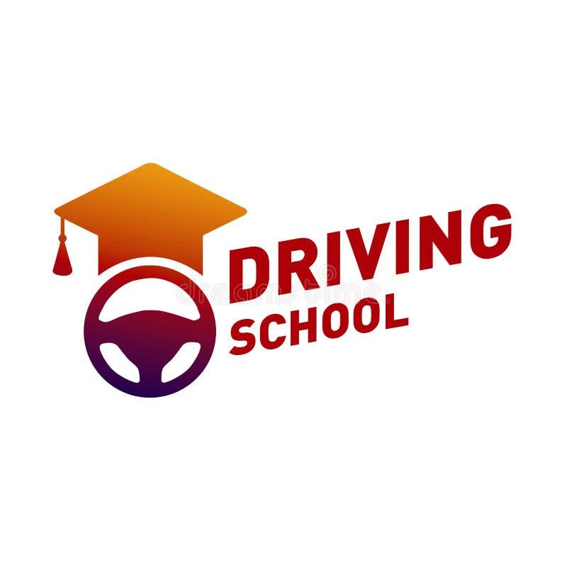 Logotipo do vetor no tema da escola de condução, carro foto de stock royalty free