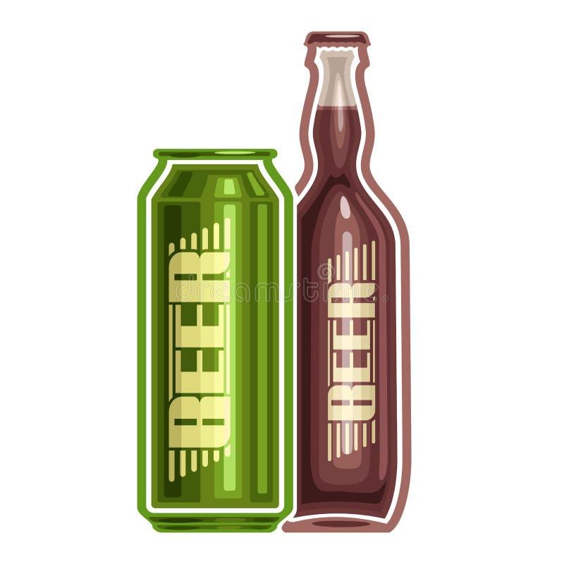 Logotipo do vetor para a cerveja da lata e da garrafa ilustração royalty free
