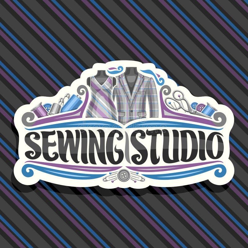 Logotipo do vetor para costurar o estúdio ilustração do vetor