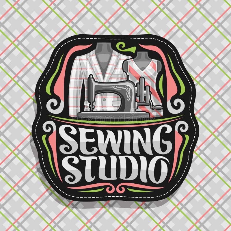 Logotipo do vetor para costurar o estúdio ilustração royalty free