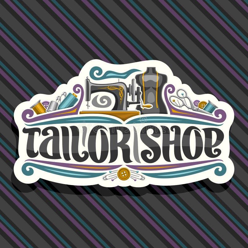 Logotipo do vetor para o alfaiate Shop ilustração royalty free