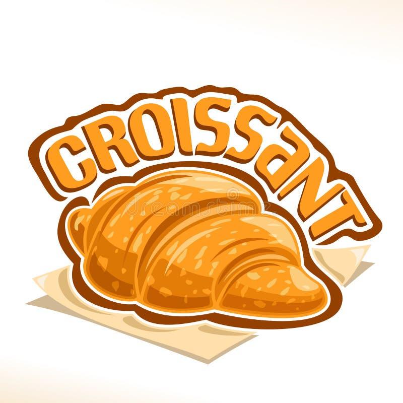 Logotipo do vetor para o croissant francês ilustração royalty free