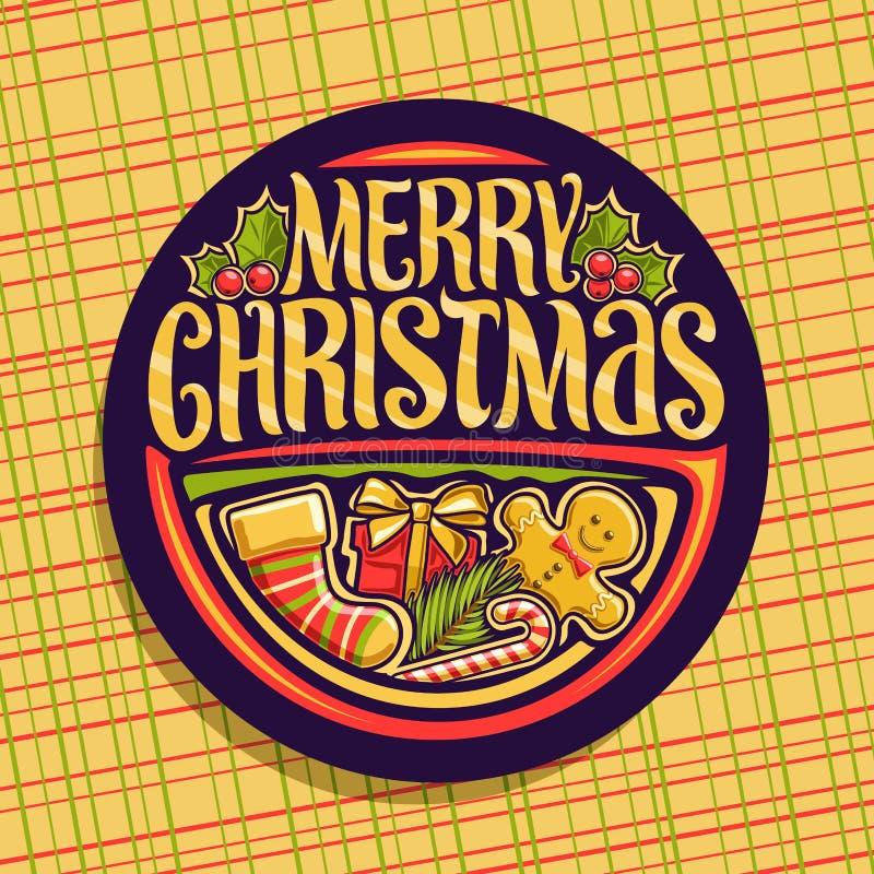 Logotipo do vetor para o Feliz Natal ilustração do vetor