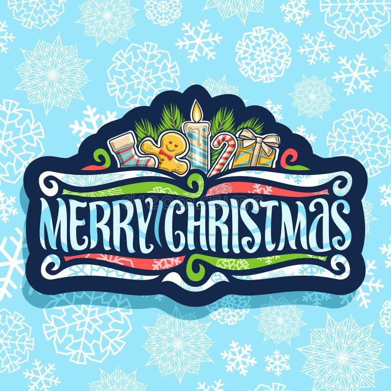 Logotipo do vetor para o Feliz Natal ilustração stock