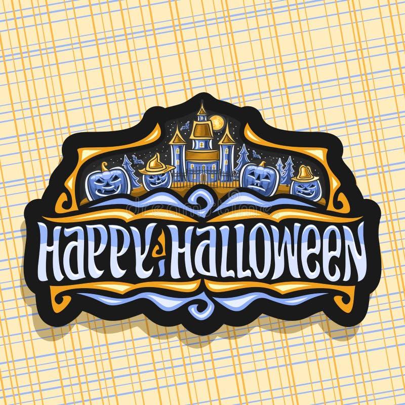 Logotipo do vetor para o feriado de Dia das Bruxas ilustração stock