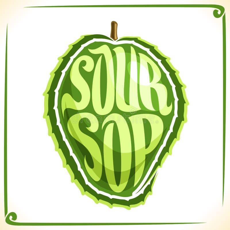 Logotipo do vetor para o fruto do Soursop ilustração stock