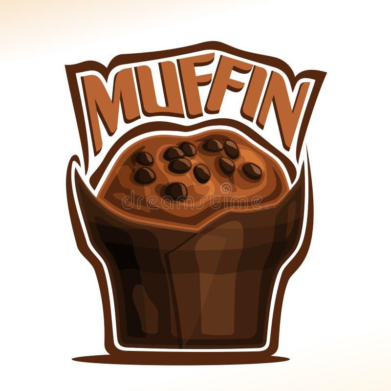 Logotipo do vetor para o queque do chocolate ilustração do vetor