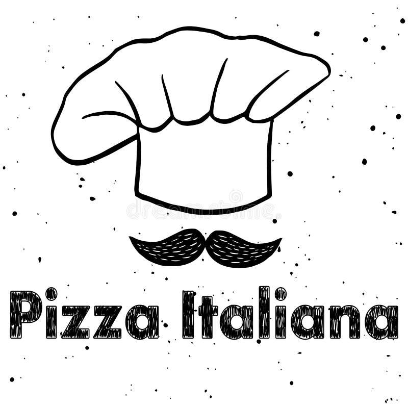 Logotipo do vetor para o restaurante italiano Chapéu do ` s do cozinheiro chefe ilustração stock