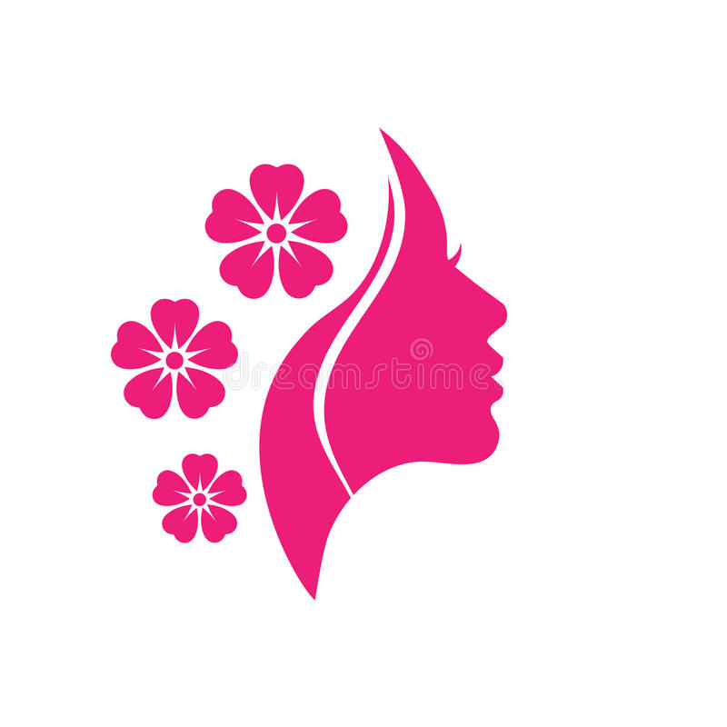 Logotipo do vetor para salões de beleza e lojas da mulher ilustração royalty free