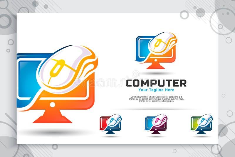 Logotipo do vetor do rato do computador com projetos de conceito modernos, ilustração do monitor e rato como um símbolo do molde  ilustração royalty free