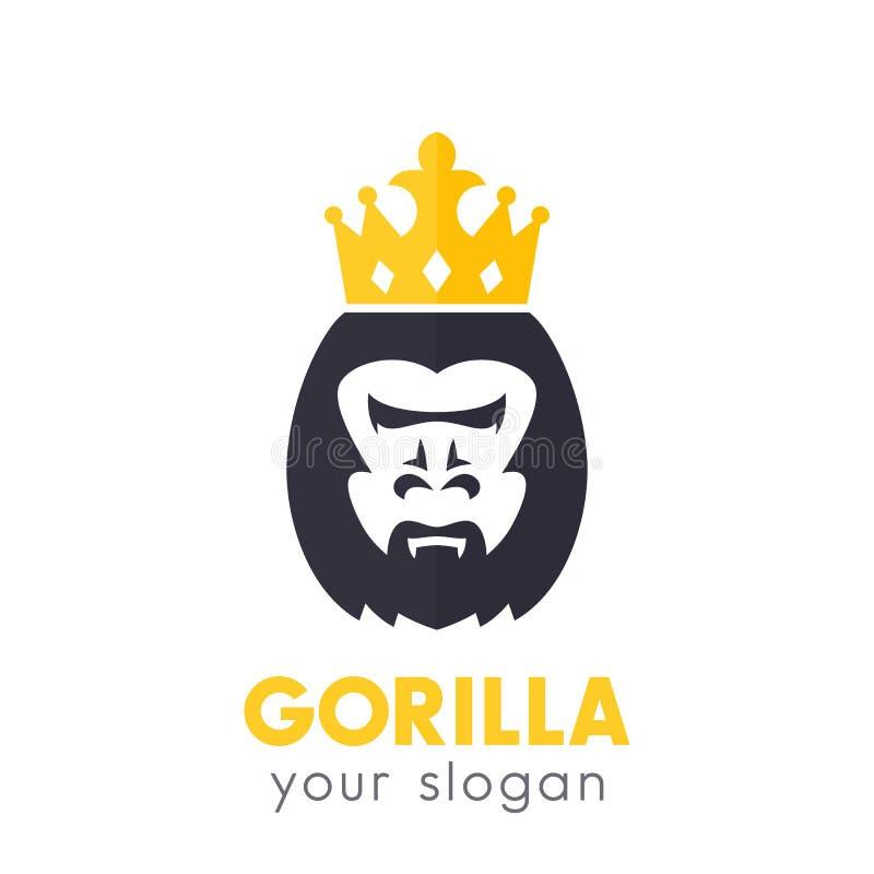 Logotipo do vetor do rei do gorila no branco ilustração do vetor