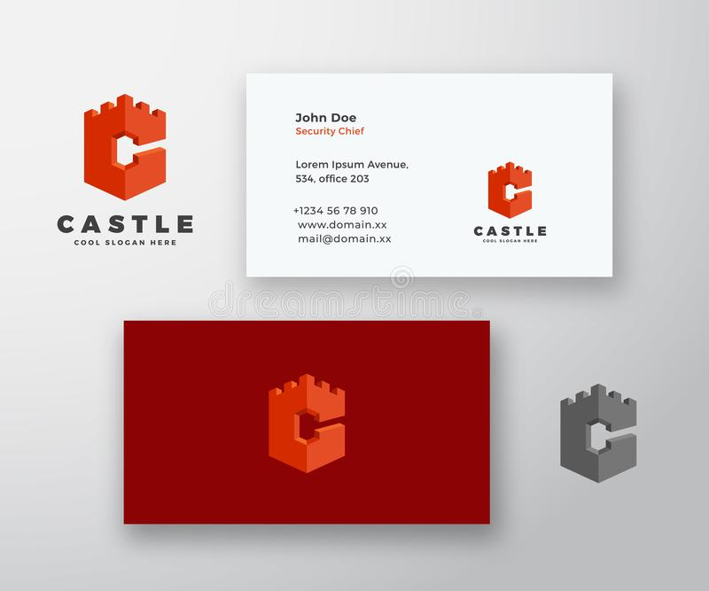 Logotipo do vetor do sumário do castelo e molde do cartão Ícone da citadela incorporado em um conceito da letra C com moderno ilustração stock