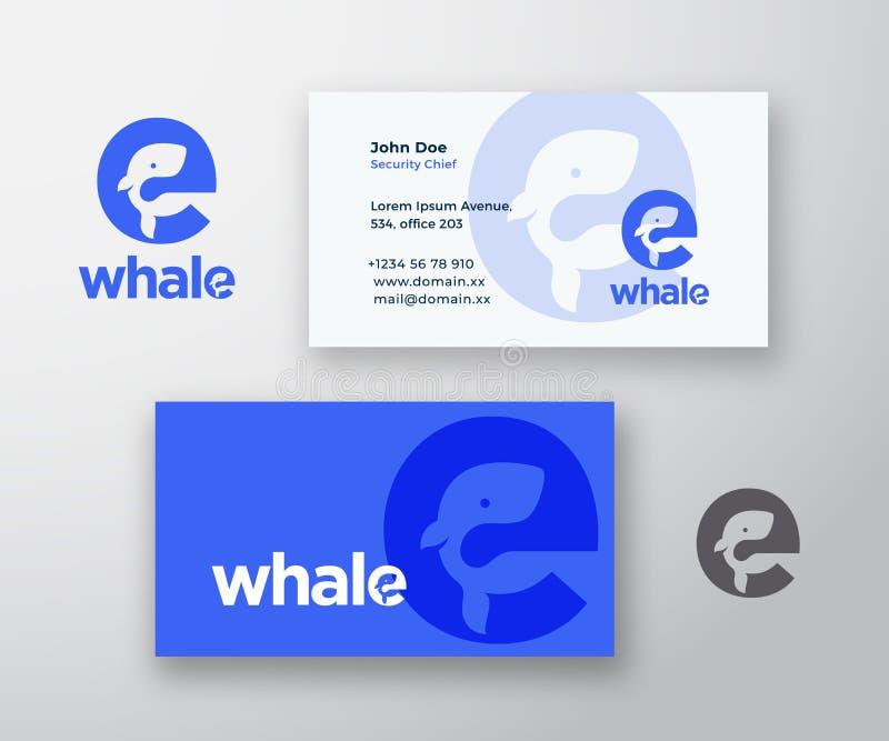 Logotipo do vetor do sumário da baleia e molde do cartão Silhueta da baleia incorporada no conceito da letra E com moderno ilustração do vetor
