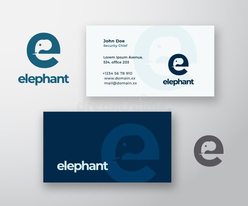 Logotipo do vetor do sumário do elefante e molde do cartão Cabeça do elefante incorporada no conceito da letra E com moderno ilustração stock