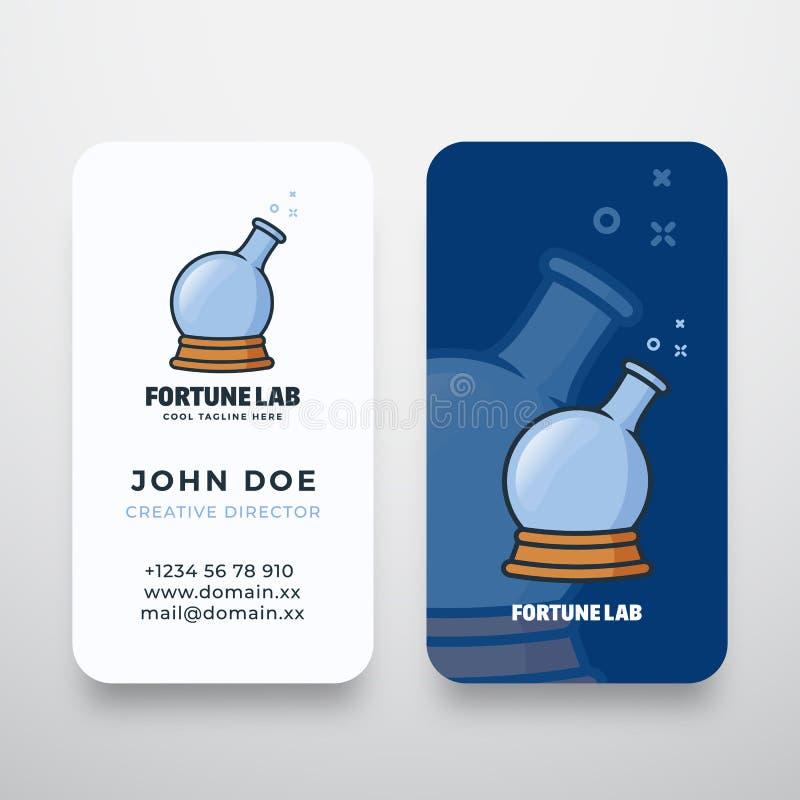 Logotipo do vetor do sumário do laboratório da fortuna e molde do cartão Símbolo mágico do conceito da garrafa da bola e da quími ilustração stock