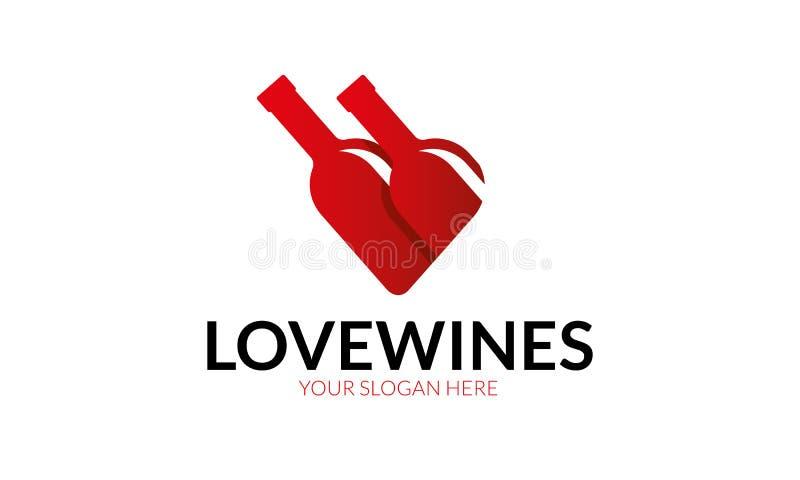Logotipo do vinho do amor ilustração stock