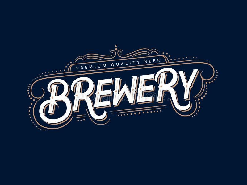 Logotipo do vintage da cervejaria, etiqueta, crachá ilustração stock
