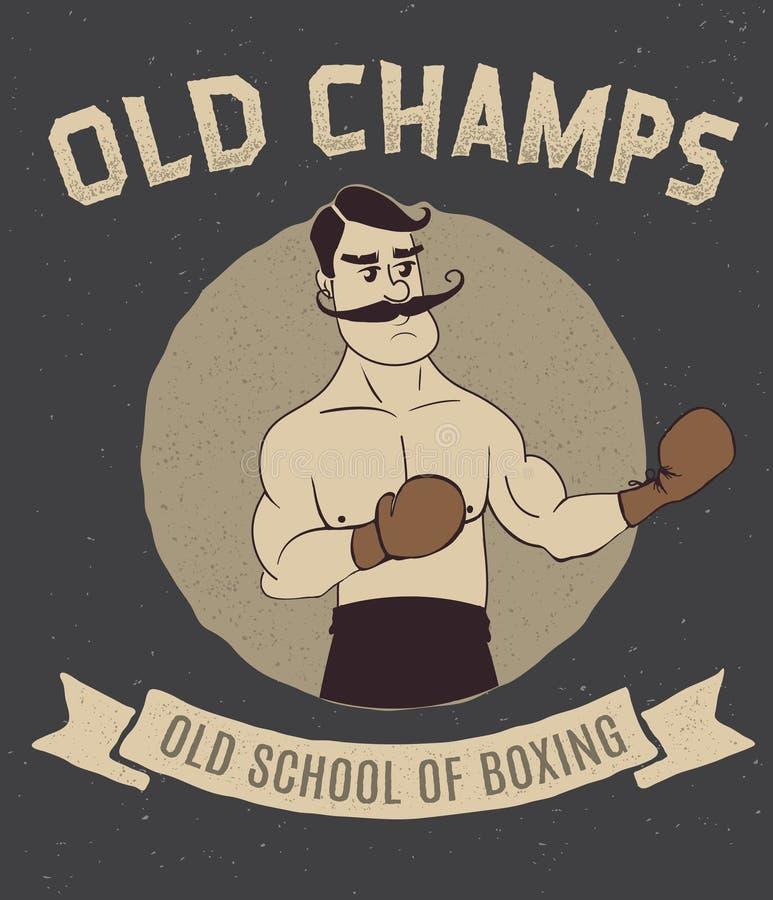 Logotipo do vintage do encaixotamento com pugilista ilustração royalty free