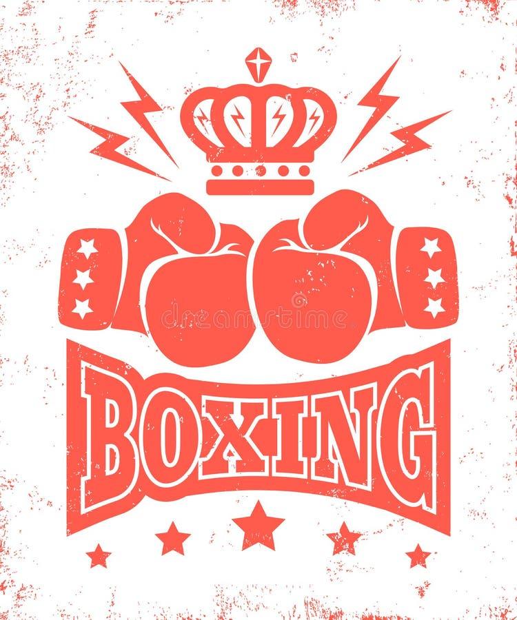 Logotipo do vintage para encaixotar ilustração do vetor