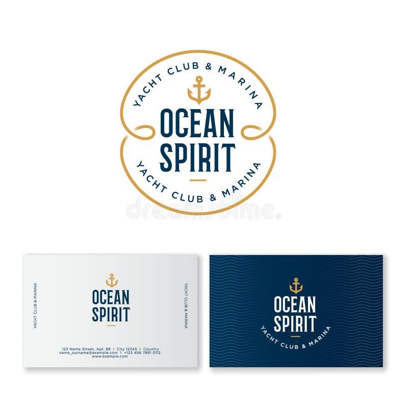 Logotipo do yacht club Emblema do espírito do oceano Emblema de Fisher Club Letras e uma âncora em um crachá azul ilustração stock