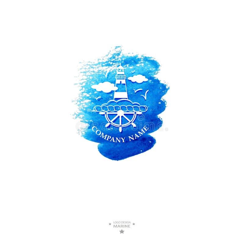 Logotipo do yacht club watercolor ilustração stock