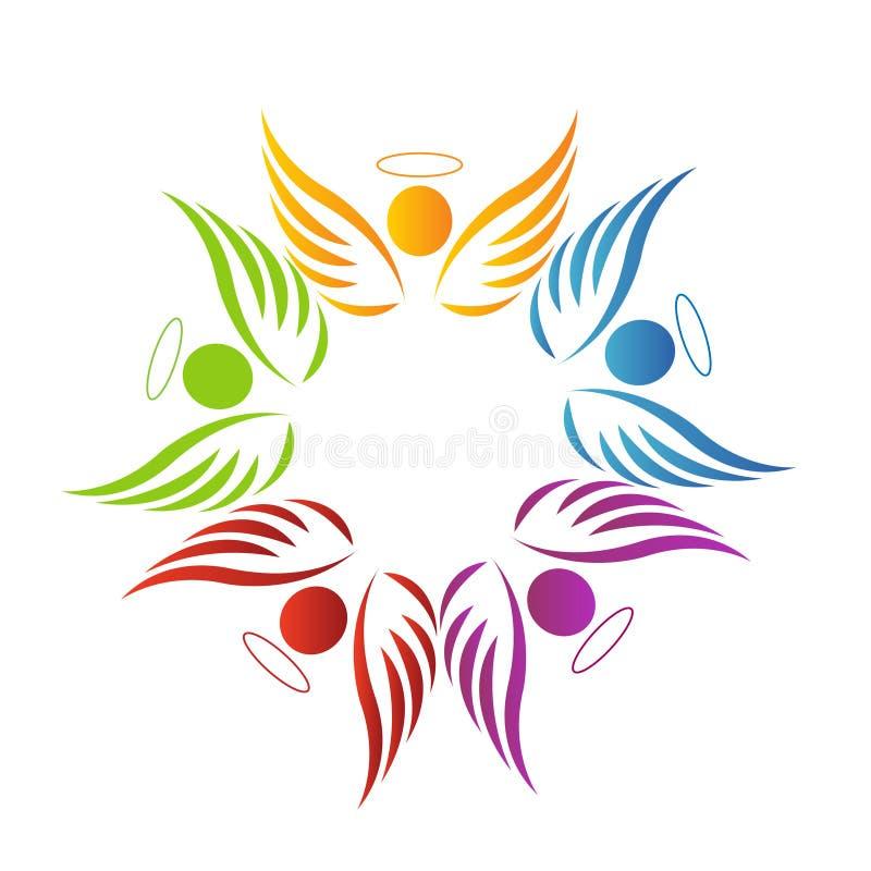 Logotipo dos anjos dos trabalhos de equipa ilustração stock