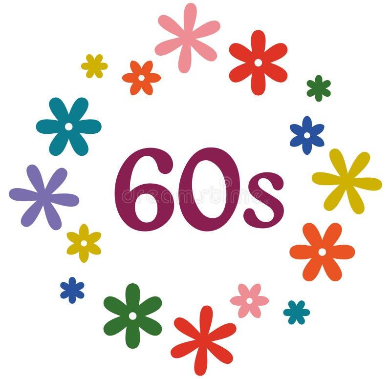 Logotipo dos anos 60 de flower power isolado no branco ilustração royalty free