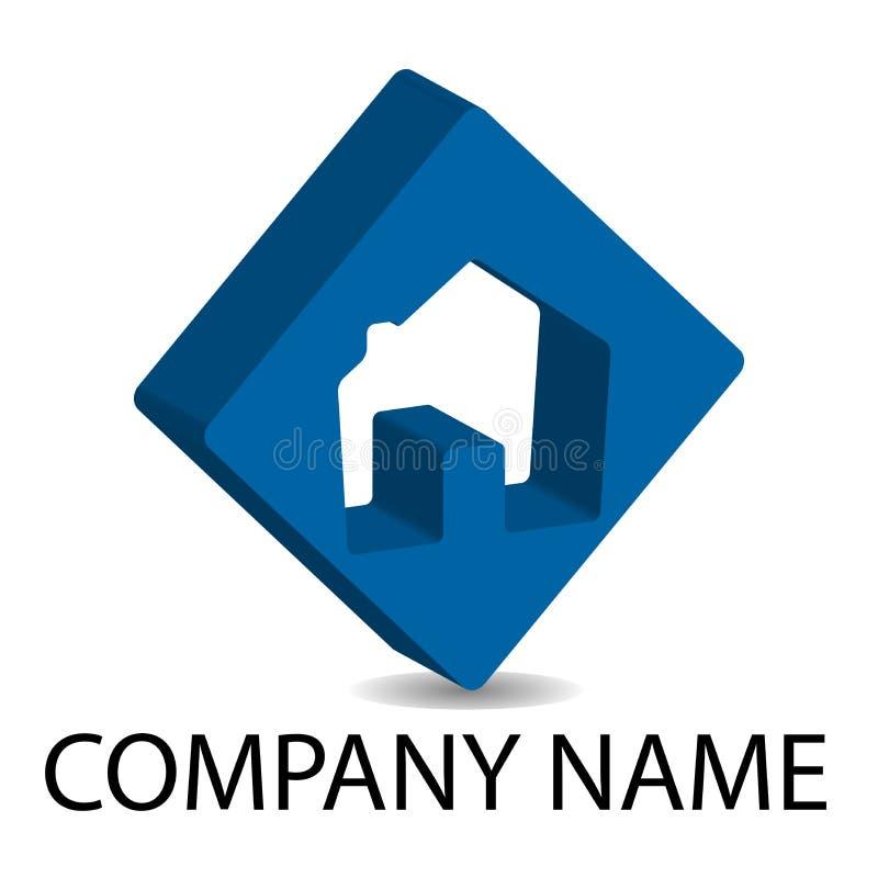 Logotipo dos bens imobiliários 3D - azul ilustração royalty free